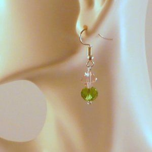 Designs by Suni Jewelry - ❤️Handmade Artisan Pink & Green Dangle Earrings 2""
